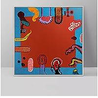 bdkym 草間弥生パンプキンキャンバス絵画抽象ポスターとプリント壁アート写真家の寝室の装飾ポスター-60X60Cmx1フレームなし