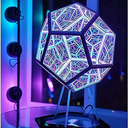 Luz de Arte de Color dodecaedro Infinito, lámpara de Noche LED de Espacio Creativo y Fresco, decoración de Muebles, lámpara de Mesa, lámpara de Ambiente de Fiesta (A)