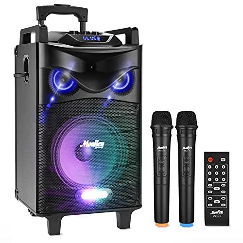Sistema PA Audio Portabile Moukey Ricaricabile Bluetooth Altoparlante Amplificato 200 Watt Impianto Karaoke Natale con ingressi USB TF MP3, 2 microfoni, telecomando, 12''-MTs12-1