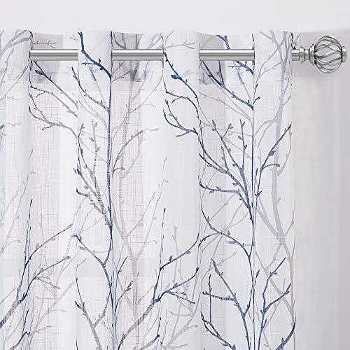 NICETOWN Vorhang Weiß Halbtransparent Ösenschal - 2er Set Voile Gardinen mit Ösen Zweigemuster Gardinen Halbtransparent Fenster Vorhänge für Wohnzimmer Dekoschals, H 175 x B 127 cm, Grau & Blau