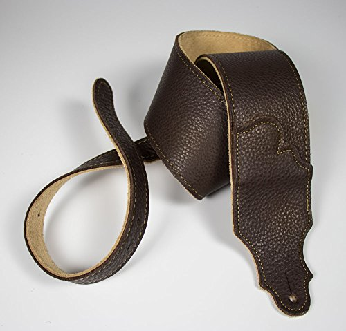 """Franklin Strap 3"""" Original Natural Glove Leather with Suede Backing Guitar Strap Chocolate/Gold Stitching"""