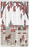 ABAKUHAUS Deutsche Schmaler Duschvorhang, Herbstsaison in Berlin, Badezimmer Deko Set aus Stoff mit Haken, 120 x 180 cm, Blasse Schokolade
