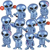 ArtCreativity Vinyl Alien Toy Figurines, Set of 48, Fun Space Party Favors for Kids, Small UFO Toys in Assorted Poses, Cool Intergalactic Party Supplies, Goodie Bag Fillers and Stocking Stuffers