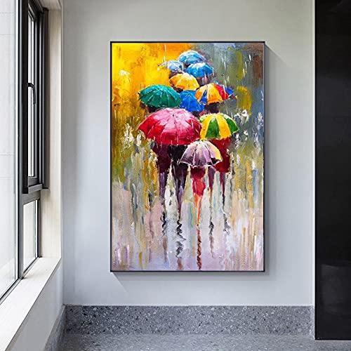 Peinture à l'huile abstraite sur toile d'art moderne, oeuvre d'art de fille, parapluie de transport, art mural encadré 70x100cm (28x39in) avec cadre