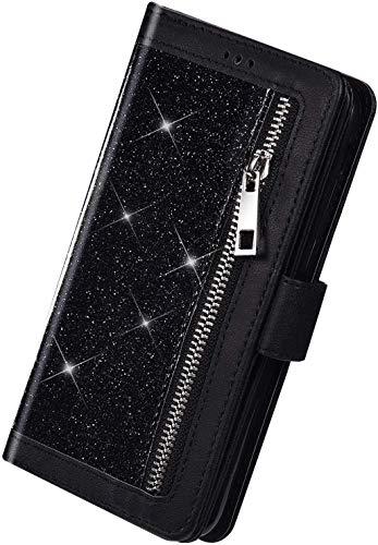 Herbests Kompatibel mit Huawei P40 Lite Handyhülle Handytasche mit 9 Kartenfächer Handschlaufe Leder Hülle Reißverschluss Magnet Luxus Bling Glänzend Multifunktions Flip Case,Schwarz