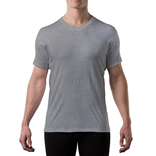 Sweatproof Undershirt for Men with Underarm Sweat Pads (Original Fit, V-Neck) Heather Grey