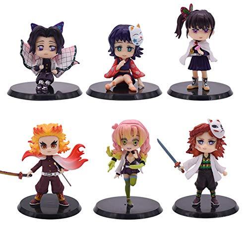Yzoncd 6Pcs Anime Demon Slayer DevilS Blade Figura Nezuko Tanjirou Zenitsu Giyuu Inosuke Q Ver. Figura De Accion Kimetsu Figurine Toy Doll Regalos 8Cm