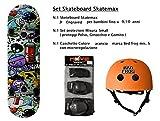Skatemax Set Junior Skateboard + Caschetto + Protezioni Modelli per Bambini da 9 Anni a 10 Anni (Engraved)
