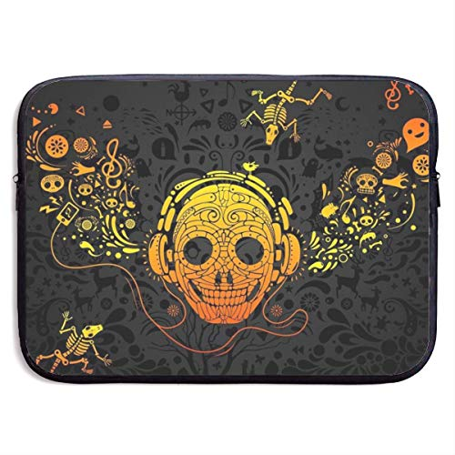 Waterproof Laptop Sleeve 15 Inch, Musical Skull Print Business Briefcase Protective Bag, Computer Case Cover BAG-5184