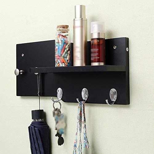 POETRY Cloakroom stand Wandkapstok Houten planken Entree Slaapkamer hanger metaal 5 haken A ++ (kleur: zwart grootte: 45,2 cm)