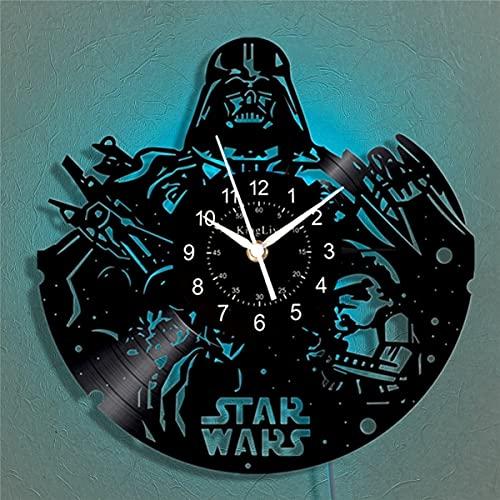 Star Wars Sith - Reloj de pared de vinilo con luz LED (30 cm), color negro