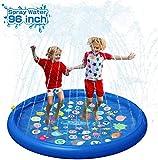 QPAU Splash Pad, Sprinkler Play Matte 150CM Sommer Wasser Garten Sprinklerpool Spielmatte für Outdoor für Baby, Kinder, Hund und Haustiere (Blau)
