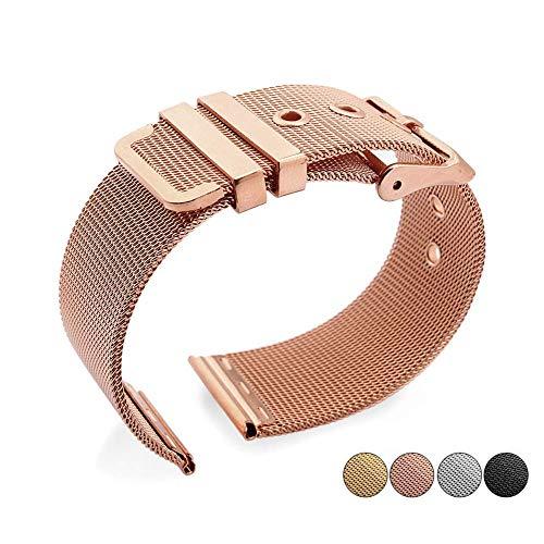 Correa de reloj de acero inoxidable trenzado de malla correa de acero sólido correa de reloj cadena accesorios de reloj longitud ajustable, color dorado - 18 mm compatible con relojes