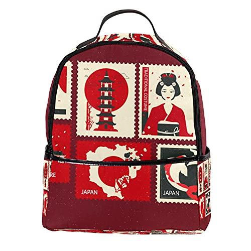 AITAI Zaino In Pelle PU Francobolli Torre Monte Fuji Giapponese Geisha All'aperto Scuola College Bookbag fit Zaino