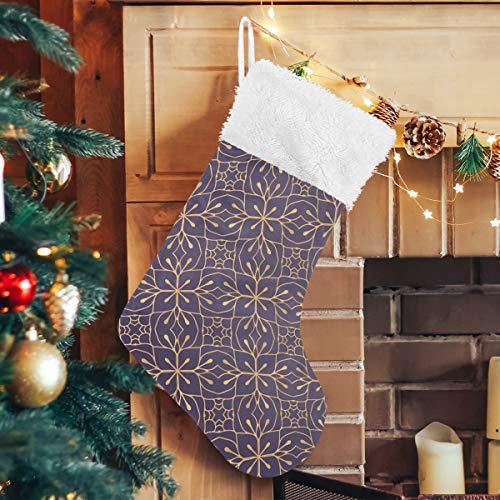 PINLLG Sier Vintage Kerst Kousen voor Kerstmis Feestelijke Vakantie Open Haard Decoratie 17.71 inch Hangende Kousen