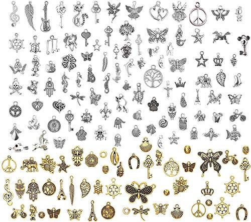 150 PCS Gemischte Charms Silber,Schmuckanhänger zum Basteln,Ohrringe Selber Machen Perlen,Charm Armband Selber Machen,Charm Anhänger Schmuck Basteln,Schmuckherstellung Set,Diy Basteln Mädchen