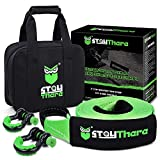 Stay There 3'' × 30ft Heavy Duty Tow Strap Recovery Kit with 35,000 lb Capacity-Emergency Towing Rope + 3/4 Heavy Duty D Ring Shackles (2pcs) + Storage Bag