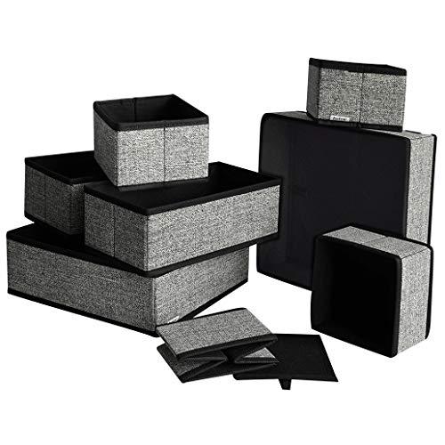 Holo16er Set Aufbewahrungsbox und Organizer für Schubladen, Kleiderschrank und Bad, aus Vlies-Stoff, Schwarz Grau