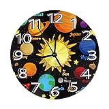Mailine Reloj de Pared Redondo Sistema Solar de Dibujos Animados Planetas Reloj de Pared Redondo Silencioso Sin tictac Funciona con Pilas Fácil de Leer Reloj Decorativo Arte