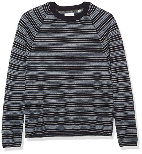 Billy Reid Men's Cotton Silk Speckled Long Sleeve Boucle Crewneck Sweater, Navy Stripe, S