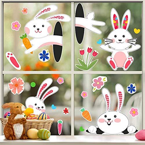 Aoliandatong 4 Fogli 86 Pezzi Adesivo per Finestra di Pasqua, Decalcomanie di Coniglietto Adesivi per Uova di Pasqua Decorazione Decal di Coniglio per Festival Artigianato Decorazione di Casa