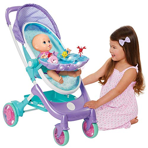 "My Disney Nursery Musical Bubble Baby Doll Stroller Inspired by The Little Mermaid, 4-in-1 Feature Doll Stroller, Forup to 14"" Baby Dolls, Blows Bubbles & Plays Under The Sea for Girls Ages 3+"