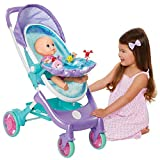 My Disney Nursery Musical Bubble Baby Doll Stroller Inspired by The Little Mermaid, 4-in-1 Feature Doll Stroller, Forup to 14' Baby Dolls, Blows Bubbles & Plays Under The Sea for Girls Ages 3+