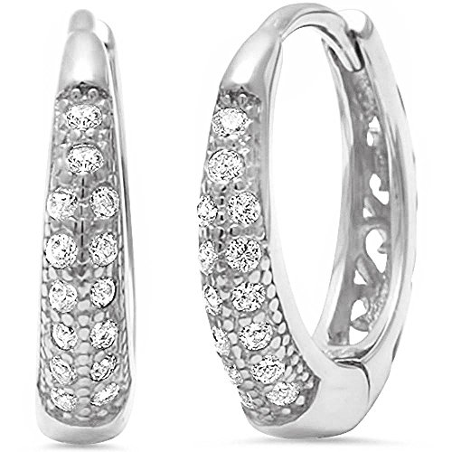 Pave Set AAA Quality Cubic Zirconia Huggie Hoop .925 Sterling Silver Earrings COLORS AVAILABLE (Clear Cubic Zirconia)