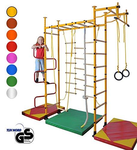 NiroSport FitTop M3 Indoor Klettergerüst für Kinder Sprossenwand für Kinderzimmer Turnwand Kletterwand, TÜV geprüft, kinderleichte Montage, Made in Germany (Blau, Raumhöhe 220-270 cm)