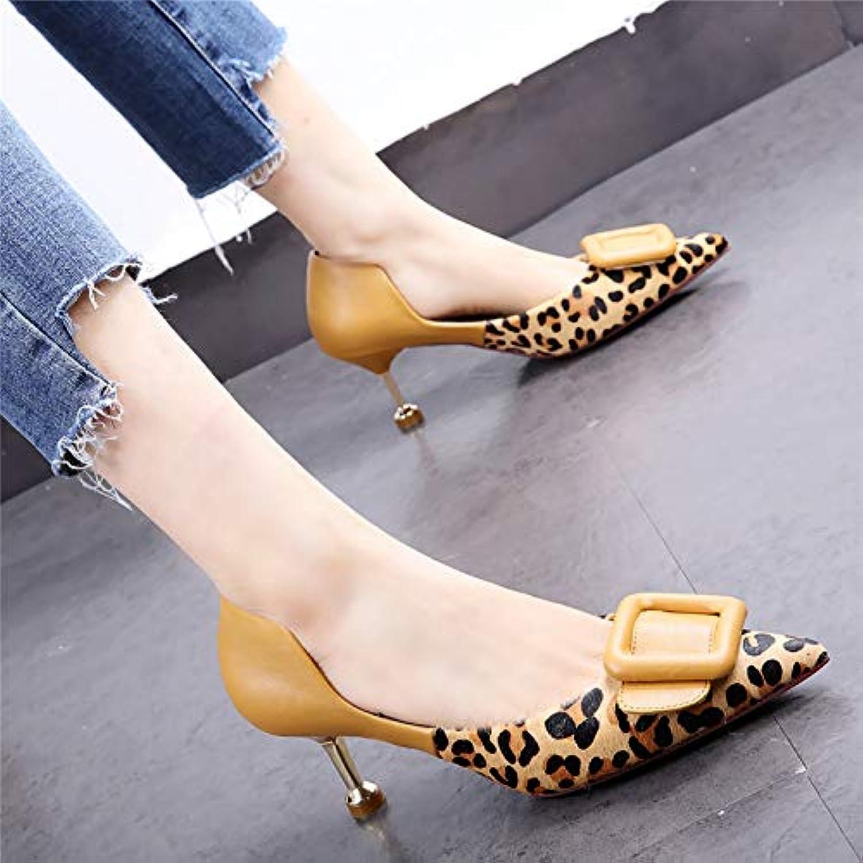 HOESCZS 7cm Schuhe mit mittelhohem Absatz 19 Frühlingsneue Leoparden-Stiletto-Stöckelkatze mit hohlen,quadratischen Schnallen-Einzelschuhen B07NVMGQ3R  Neue Sorten werden eingeführt