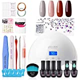 Gellen Gel Nail Polish Starter Kit with 24W Nail Dryer Light With Base Coat Top Coat Popular Nail Art 4 Colors (Caramel Reds Gray Salmon Pink) - Delicate Nail Gel Manicure Tools Nail Art Designs - Best Reviews Guide