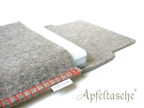 Notebooktasche APFELTASCHE 13 Zoll für Mac-Book iBook /// grau-meliert orange /// handgenäht in Berlin