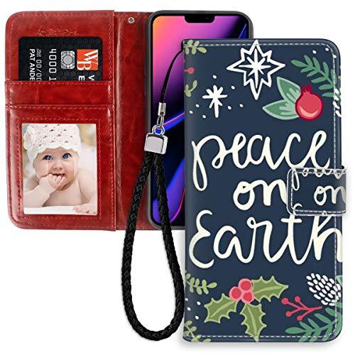 iPhone 11 Pro Max (2019) 6,5 pulgadas Wallet Case Christmas Cotes Peace On Earth para niñas