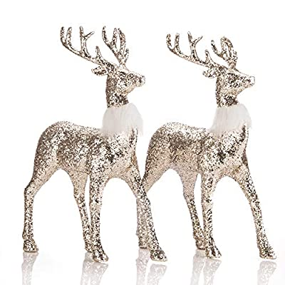 "SANNO 12"" Standing Reindeer Decorations Christmas Deer Figurines Gold Glitter Deer Ornament Winter Decor,Holiday Decorative Indoor Freestanding for Living Room, Tabletop Set of 2"