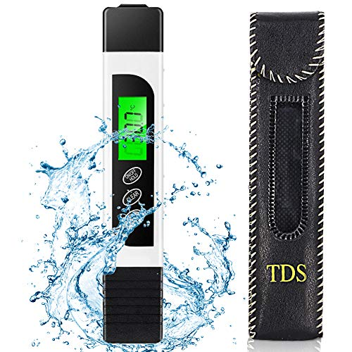 HZQDLN Water Tester Digital TDS Meter, EC Meter, PPM Meter and Temp Meter,0-9999 ppm, Portable Water Quality Tester Suitable for Home ATC Drinking Water, Spa, Aquarium