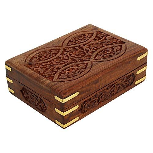 Ajuny - Caja de madera decorativa tallada a mano, esquinas de latón, ideal para cartas