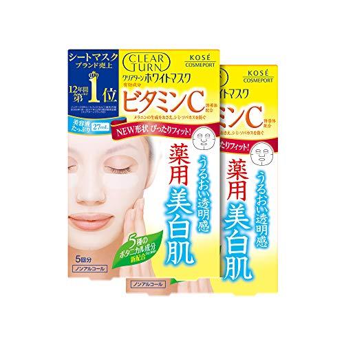 KOSE クリアターン ホワイト マスク VC (ビタミンC) 5枚 2パック おまけ付 フェイスマスク (医薬部外品)