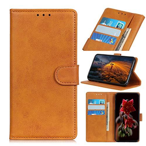 LMFULM® Hülle für Sony Xperia L4 (6,2 Zoll) PU Leder Hülle Magnet Brieftasche Lederhülle Retro Rindsleder Style Stent-Funktion Schutzhülle Flip Cover Braun