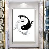 Lienzo de arte abstracto blanco y negro carpa mural carteles e impresiones imágenes minimalismo sala de estar decoración del hogar 70x90 cm sin marco