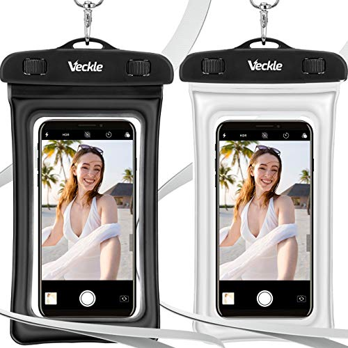 Veckle Waterproof Phone Pouch, 2 Pack Clear TPU Universal Water Proof Cell Phone Pouch Floating Dry Bag Waterproof Case for Smartphones OnePlus 7 iPhone X 8 7 6 Plus Galaxy S8 S7 S6 Beach Black White
