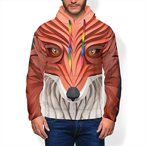 FlonzGift 3D Print Abstract Fox Hoodie Men's Fashion Warm Winter Sport Casual