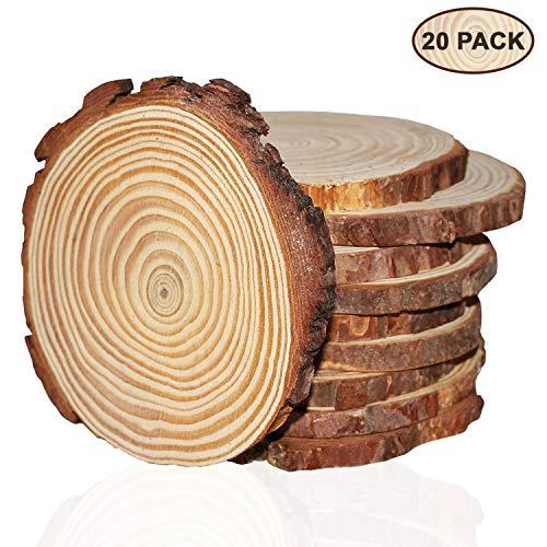 Kurtzy Runde Naturholz(20 Stück)- (10cm-11cm), 10mm dick, Baumscheiben - Rustikale Holzscheiben Rohlinge mit Rinde und Glatter Oberfläche -für Kunsthandwerk und Dekorationen