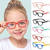 Marco de plástico rectangular para gafas con luz azul anti niños, proteger la vista, niño unisex (adecuado para 5-12 años) (Rosado)