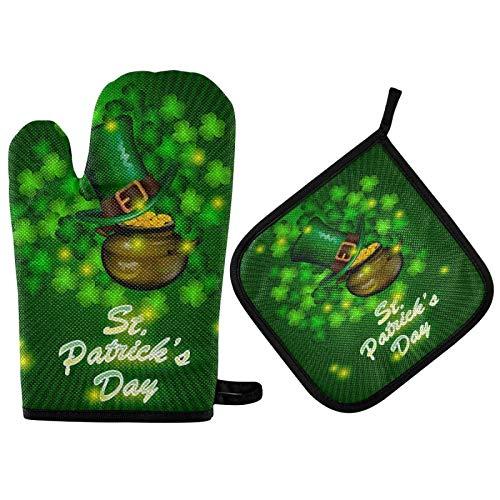 St Patricks Day Oven Mitts Porta Ollas Tréboles Sombrero Monedas Mitones De Horno Suaves Resistentes Al Calor Extremo Y Porta Ollas Juego De Guantes De Horno para Cocina Casera