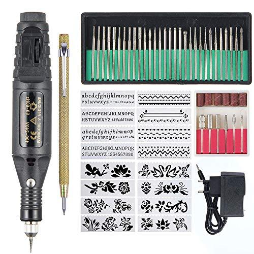 Kit di Strumenti Penna per incisore, Set di Strumenti per Incisione Micro Fai da Te Elettrico, Attrezzatura Trapano chiodo Multifunzionale per Vetro Metallo Ceramica Ceramica Gioielli in Legno