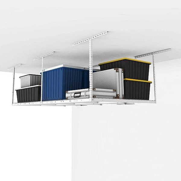 Fleximounts 4x8 Overhead Garage Storage Rack Adjustable Ceiling Storage Rack Heavy Duty 96 Length X 48 Width X 22 5 40 Ceiling Dropdown White