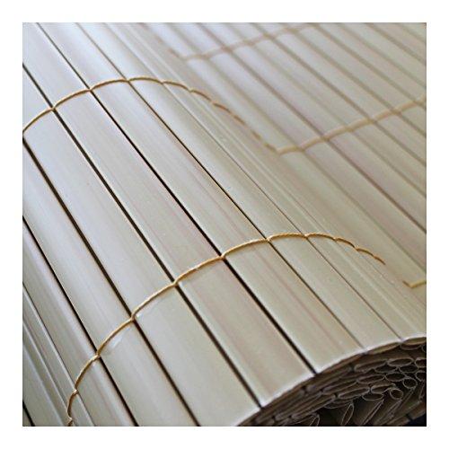 TOP MULTI PVC Sichtschutz-Matte für Balkon/Garten 1m x 4m natural-bamboo beige | Sichtschutz-Zaun inkl. Befestigung + wetterfest | Windschutz-Matte | Blende | Blickschutz-Zaun | Balkon-Verkleidung
