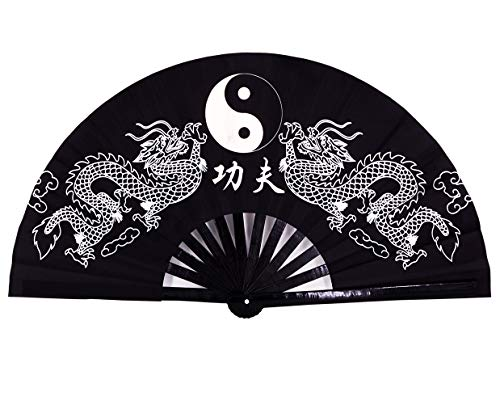 Amajiji Large Rave Folding Hand Fan for Men/Women, Chinese Japanese Kung Fu Tai Chi Handheld Fan Performance Fan Festival Gift Fan Craft Fan Folding Fan Dance Fan (Black Dragon)
