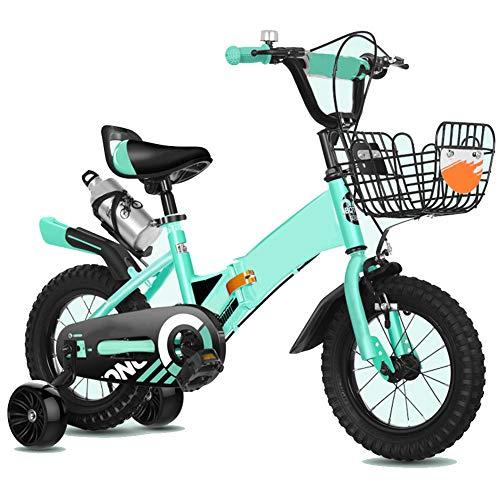 Kinder Fahrrad Mit Ausbildung Räder Mountainbike Korb, Komfortabel Tragbar Sitz, Mit Wasserflasche, Teleskopisch Falten, Zum 2-10 Jahre Alt Jungs Mädchen, Grün,14 inch