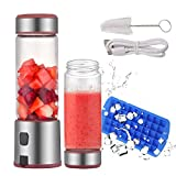 Portable Blender Glass, TOPQSC USB Rechargeable 5200mAh Personal Blender 15oz for Shakes with 2 Lids, Smoothies and Baby Food with Travel
